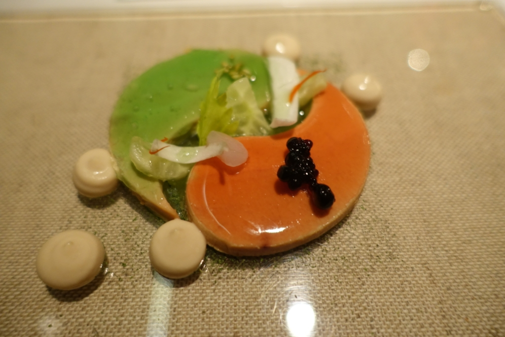 14 - JW Menu - Yin & Yang foie gras miso green & red apple