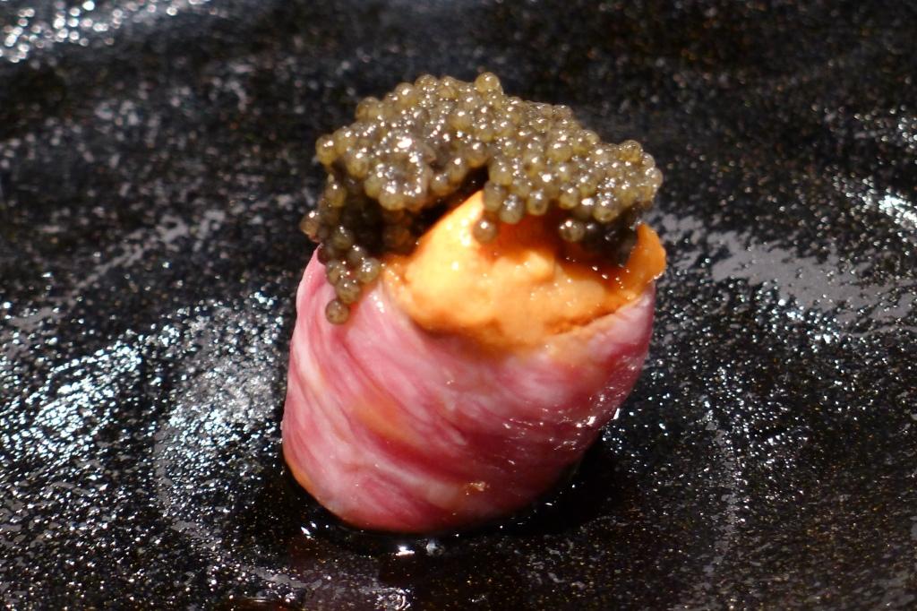 03 Torishige - Wagyu w Uni and Caviar