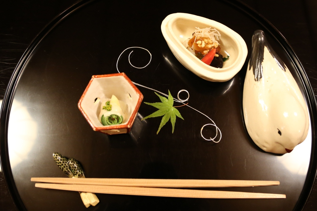05 Kitcho Arashiyama Honten - Lobster with a vinaigrette, seaweed broccoli and radish topped with ginger and lotus root. Japanese vegetables