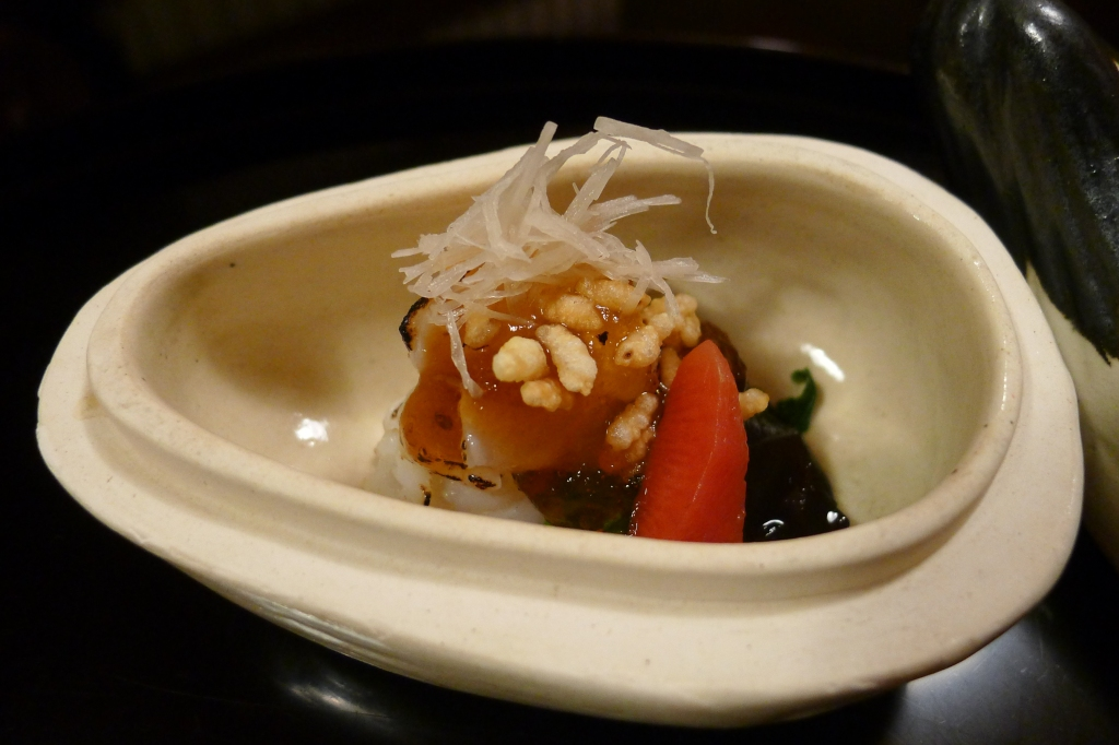 06 Kitcho Arashiyama Honten - Lobster with a vinaigrette, seaweed broccoli and radish topped with ginger and lotus root