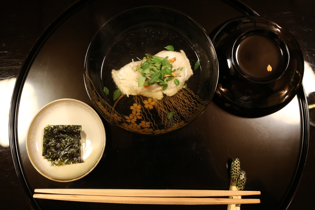 07 Kitcho Arashiyama Honten - Consomme with steamed cod fish topped with sea cucumber roe