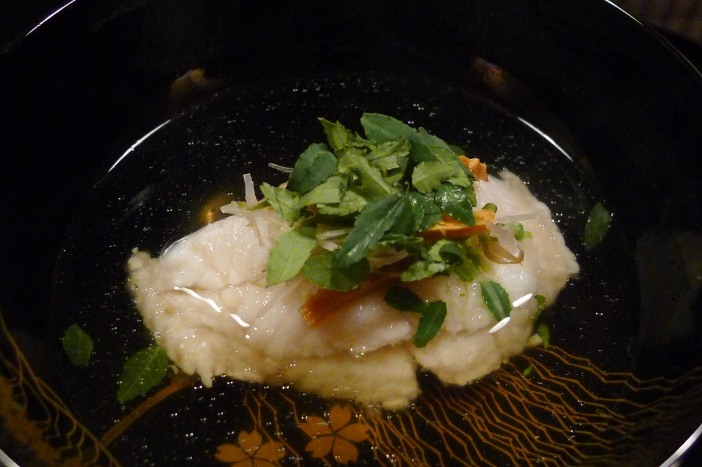 08 Kitcho Arashiyama Honten - Consomme with steamed cod fish topped with sea cucumber roe