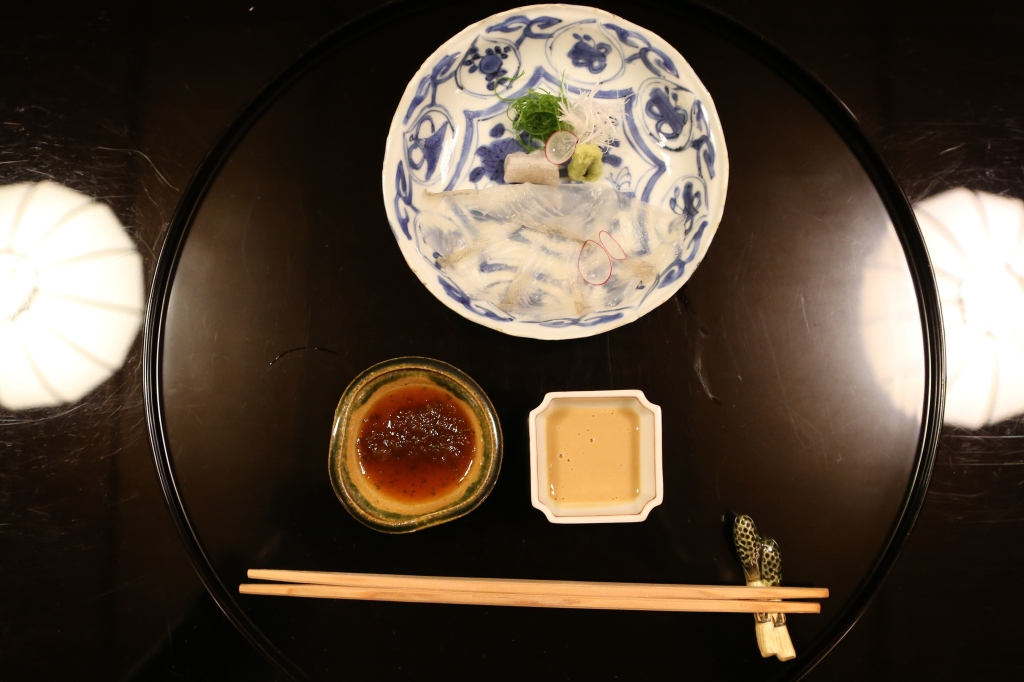 09 Kitcho Arashiyama Honten - Tile fish sashimi with soy sauce and a sauce made with liver and soy sauce