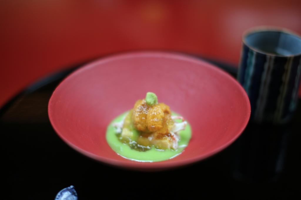 09 Nakamura - Japanese sweet peas, tofu, crab, Uni  and wasabi