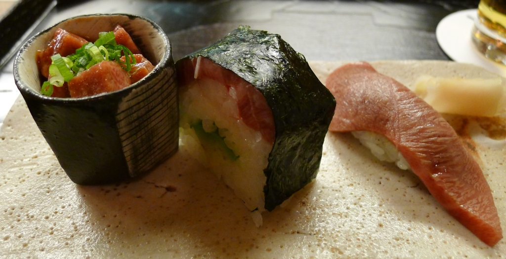 10 Isshin - Fatty beef, A roll with beef, crab and avocado, and beef sushi Marinated with soy sauce