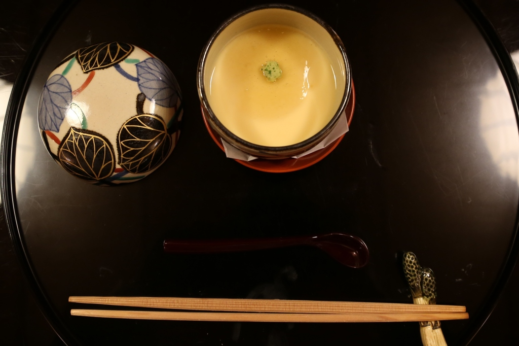 15 Kitcho Arashiyama Honten - steamed Savory egg custard topped with ginger and leek. Small Oyster and squid inside