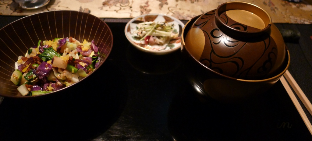 20 Ryugin - Sanshoo pepper rice wSeasonal Vegetables Miso Soup Pickled vegetables