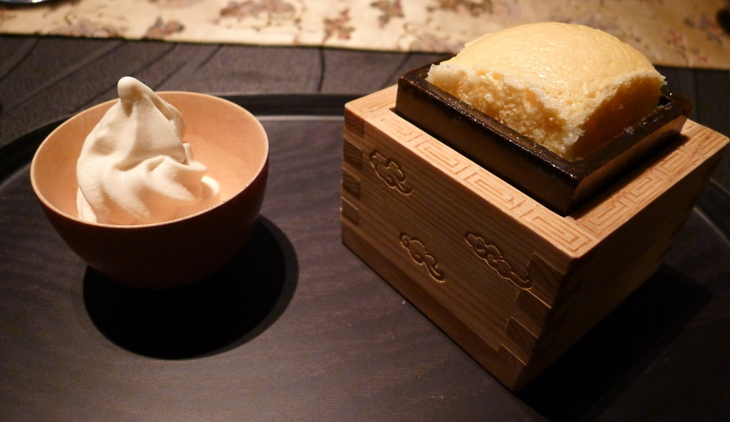 25 Ryugin - Baked Ginjou Sake Oyaki Souffle with milk soft serve ice cream